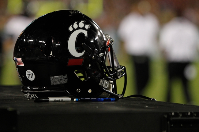 Oct 5, 2013; Tampa, FL, USA; Cincinnati Bearcats helmet on the sidelines against the South Florida Bulls during the second half at Raymond James Stadium. South Florida Bulls defeated the Cincinnati Bearcats 26-20. Mandatory Credit: Kim Klement-USA TODAY Sports