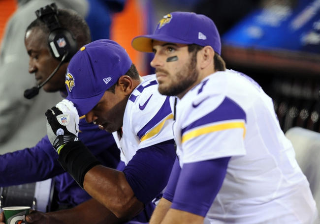 Oct 21, 2013; East Rutherford, NJ, USA; Minnesota Vikings quarterback Josh Freeman (12) and quarterback Christian Ponder (7) look on in the final minutes of their team's loss to the New York Giants at MetLife Stadium. The Giants won the game 23-7. Mandatory Credit: Joe Camporeale-USA TODAY Sports
