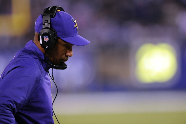 Oct 21, 2013; East Rutherford, NJ, USA; Minnesota Vikings head coach Leslie Frazier looks on during the final moments of his team's loss to the New York Giants during the fourth quarter at MetLife Stadium. The Giants won the game 23-7. Mandatory Credit: Joe Camporeale-USA TODAY Sports
