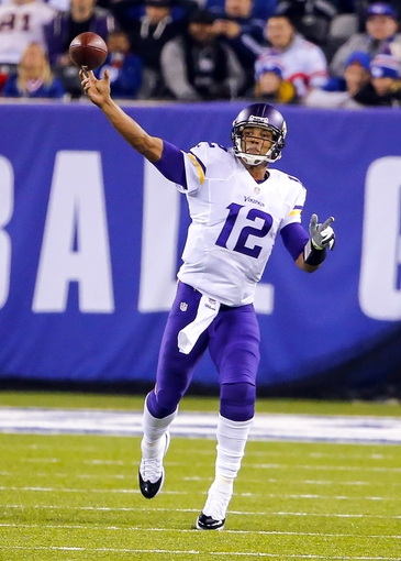Oct 21, 2013; East Rutherford, NJ, USA;  Minnesota Vikings quarterback Josh Freeman (12) throws against the New York Giants during the second half at MetLife Stadium. New York Giants defeat the Minnesota Vikings 23-7. Mandatory Credit: Jim O'Connor-USA TODAY Sports