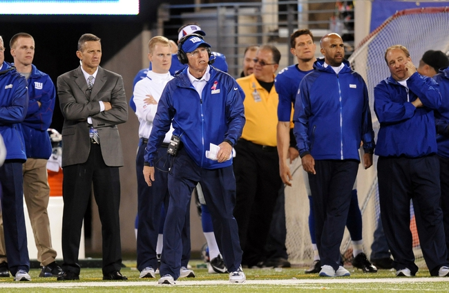 Oct 21, 2013; East Rutherford, NJ, USA; New York Giants head coach Tom Coughlin looks on against the Minnesota Vikings during the second half at MetLife Stadium. The Giants won the game 23-7. Mandatory Credit: Joe Camporeale-USA TODAY Sports