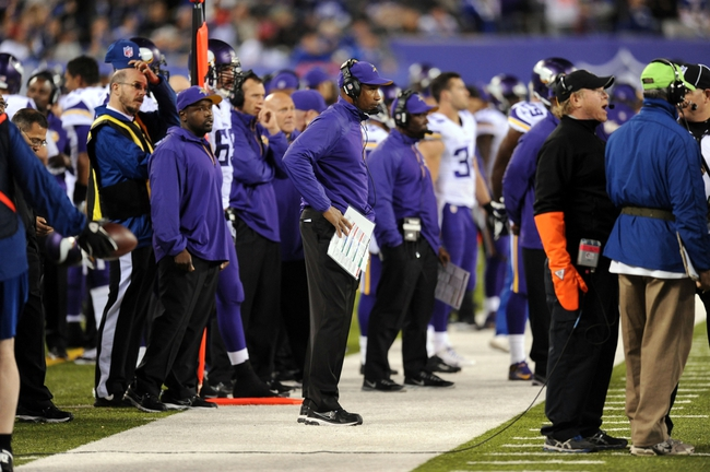 Oct 21, 2013; East Rutherford, NJ, USA; Minnesota Vikings head coach Leslie Frazier looks on during the second half against the New York Giants at MetLife Stadium. The Giants won the game 23-7. Mandatory Credit: Joe Camporeale-USA TODAY Sports