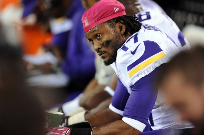 Oct 21, 2013; East Rutherford, NJ, USA; Minnesota Vikings wide receiver Jarius Wright (17) looks on against the New York Giants during the final minutes of the fourth quarter at MetLife Stadium. The Giants won the game 23-7. Mandatory Credit: Joe Camporeale-USA TODAY Sports