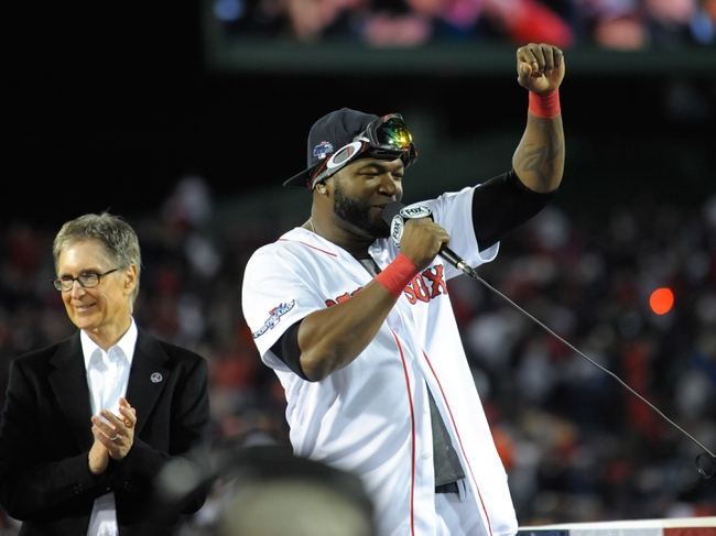 Oct 19, 2013; Boston, MA, USA; Boston Red Sox designated hitter David Ortiz (34) addresses the fans after defeating the Detroit Tigers in game six of the American League Championship Series baseball game at Fenway Park. Mandatory Credit: Bob DeChiara-USA TODAY Sports