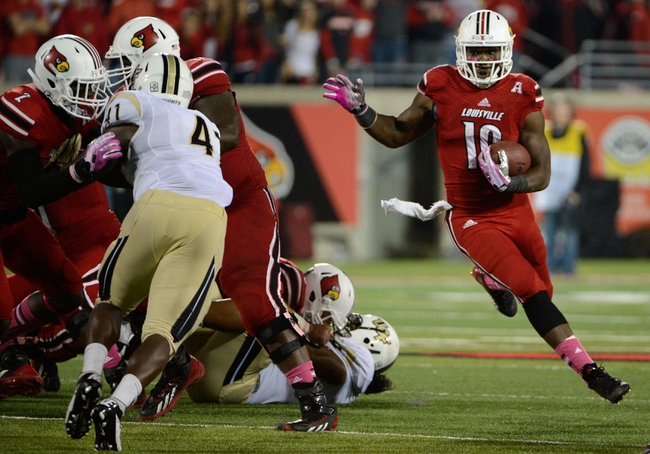Oct 18, 2013; Louisville, KY, USA; Louisville Cardinals running back Dominique Brown (10) runs the ball against the UCF Knights during the second half of play at Papa John's Cardinal Stadium. Central Florida defeated Louisville 38-35.  Mandatory Credit: Jamie Rhodes-USA TODAY Sports
