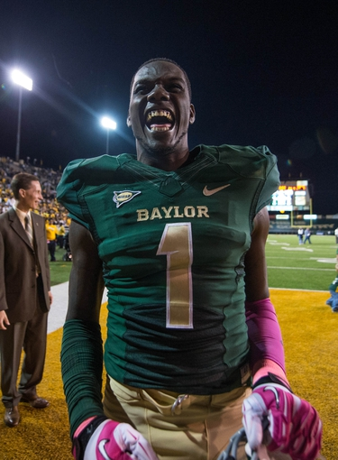 Oct 19, 2013; Waco, TX, USA; Baylor Bears wide receiver Corey Coleman (1) celebrates the win over the Iowa State Cyclones after the game at Floyd Casey Stadium. The Bears defeated the Cyclones 71-7. Mandatory Credit: Jerome Miron-USA TODAY Sports