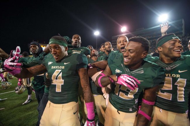 Oct 19, 2013; Waco, TX, USA; The Baylor Bears celebrate the win over the Iowa State Cyclones after the game at Floyd Casey Stadium. The Bears defeated the Cyclones 71-7. Mandatory Credit: Jerome Miron-USA TODAY Sports