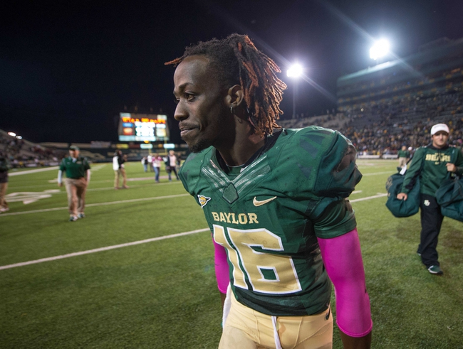 Oct 19, 2013; Waco, TX, USA; Baylor Bears wide receiver Tevin Reese (16) celebrates the win over the Iowa State Cyclones after the game at Floyd Casey Stadium. The Bears defeated the Cyclones 71-7. Mandatory Credit: Jerome Miron-USA TODAY Sports