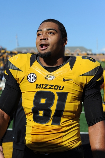 Oct 19, 2013; Columbia, MO, USA; Missouri Tigers tight end Eric Waters (81) leaves the field after the game against the Florida Gators at Faurot Field. Missouri won 36-17. Mandatory Credit: Denny Medley-USA TODAY Sports
