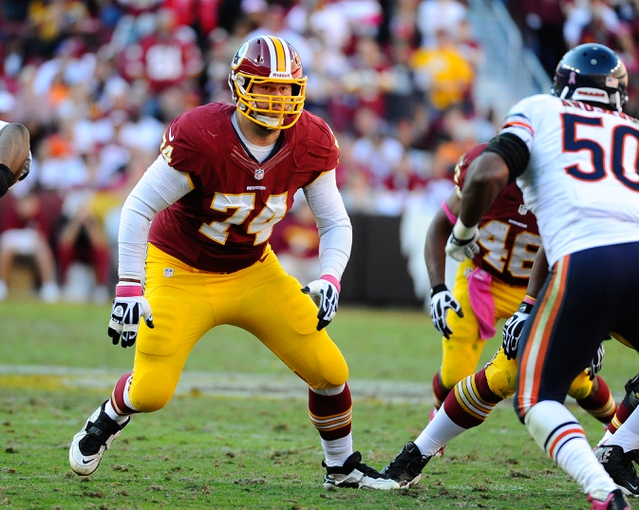 Oct 20, 2013; Landover, MD, USA; Washington Redskins offensive tackle Tyler Polumbus (74) prepares to block against the Chicago Bears during the second half at FedEX Field. Mandatory Credit: Brad Mills-USA TODAY Sports
