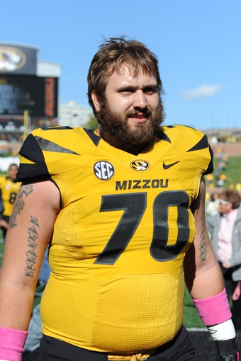 Oct 19, 2013; Columbia, MO, USA; Missouri Tigers offensive linesman Anthony Gatti (70) leaves the field after the game against the Florida Gators at Faurot Field. Missouri won 36-17. Mandatory Credit: Denny Medley-USA TODAY Sports