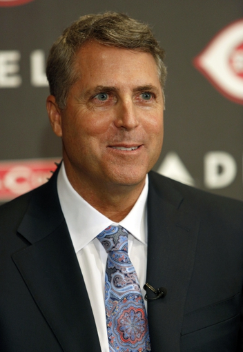 Oct 22, 2013; Cincinnati, OH, USA; Cincinnati Reds new manager Bryan Price smiles during a news conference at Great American Ballpark. Mandatory Credit: David Kohl-USA TODAY Sports