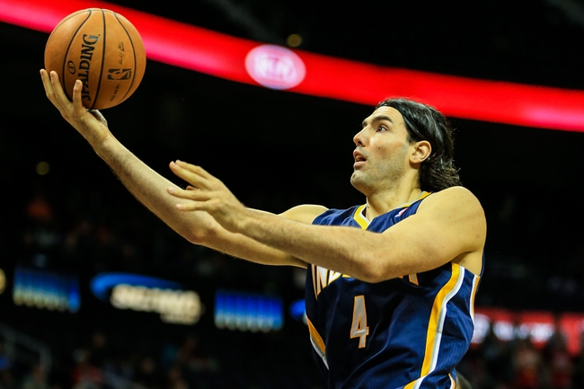 Oct 22, 2013; Atlanta, GA, USA; Indiana Pacers power forward Luis Scola (4) shoots a basket in the second half against the Atlanta Hawks at Philips Arena. The Pacers won 107-89. Mandatory Credit: Daniel Shirey-USA TODAY Sports