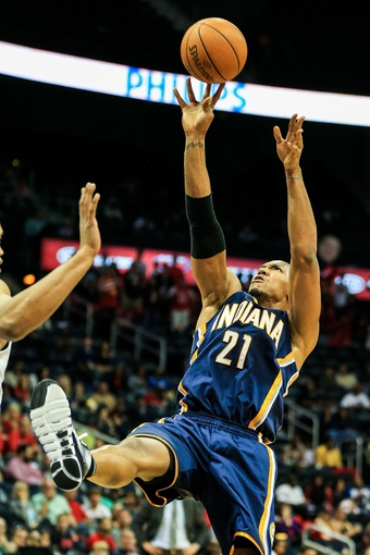 Oct 22, 2013; Atlanta, GA, USA; Indiana Pacers power forward David West (21) shoots a basket in the second half against the Atlanta Hawks at Philips Arena. The Pacers won 107-89. Mandatory Credit: Daniel Shirey-USA TODAY Sports