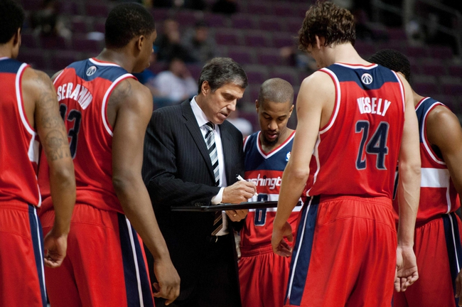 Oct 22, 2013; Auburn Hills, MI, USA; Washington Wizards head coach Randy Wittman talks to his team during the fourth quarter against the Detroit Pistons at The Palace of Auburn Hills. Pistons won 99-96. Mandatory Credit: Tim Fuller-USA TODAY Sports