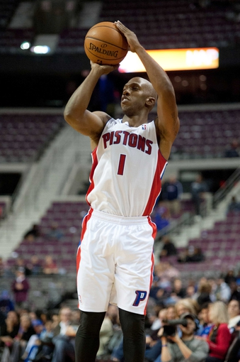 Oct 22, 2013; Auburn Hills, MI, USA; Detroit Pistons point guard Chauncey Billups (1) shoots during the fourth quarter against the Washington Wizards at The Palace of Auburn Hills. Pistons won 99-96. Mandatory Credit: Tim Fuller-USA TODAY Sports