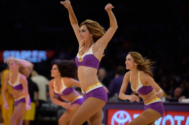 Oct 22, 2013; Los Angeles, CA, USA; The Laker Girls perform during the second half of the Los Angeles Lakers and Utah Jazz preseaspon game at Staples Center. Mandatory Credit: Robert Hanashiro-USA TODAY Sports