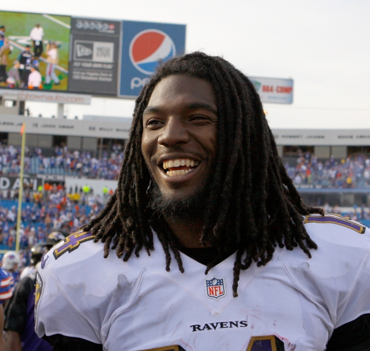 Sep 29, 2013; Orchard Park, NY, USA; Baltimore Ravens wide receiver Marlon Brown (14) after a game against the Buffalo Bills at Ralph Wilson Stadium. Bills beat Ravens 23 to 20.  Mandatory Credit: Timothy T. Ludwig-USA TODAY Sports