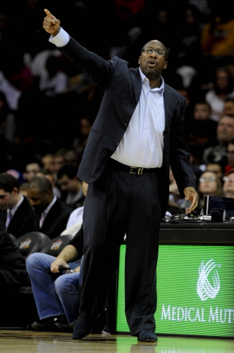 Oct 19, 2013; Cleveland, OH, USA; Cleveland Cavaliers head coach Mike Brown during the game against the Indiana Pacers at Quicken Loans Arena. The Pacers beat the Cavaliers 102-79. Mandatory Credit: Ken Blaze-USA TODAY Sports