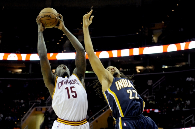 Oct 19, 2013; Cleveland, OH, USA; Cleveland Cavaliers forward Anthony Bennett (15) and Indiana Pacers forward Chris Copeland (22) during the game at Quicken Loans Arena. The Pacers beat the Cavaliers 102-79. Mandatory Credit: Ken Blaze-USA TODAY Sports