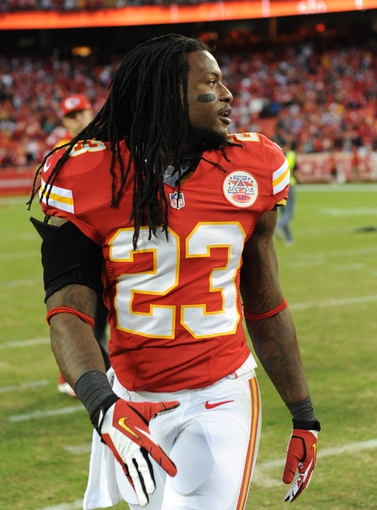 Oct 20, 2013; Kansas City, MO, USA; Kansas City Chiefs free safety Kendrick Lewis (23) walks off of the field after the game against the Houston Texans at Arrowhead Stadium. The Chiefs won 17-16. Mandatory Credit: Denny Medley-USA TODAY Sports