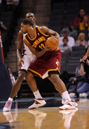 Oct 24, 2013; Charlotte, NC, USA; Cleveland Cavaliers forward center Tristan Thompson (13) catches a pass during the game against the Charlotte Bobcats at Time Warner Cable Arena. The Bobcats won 102-95. Mandatory Credit: Sam Sharpe-USA TODAY Sports