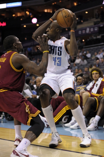 Oct 24, 2013; Charlotte, NC, USA; Charlotte Bobcats forward Anthony Tolliver (43) looks to pass during the game against the Cleveland Cavaliers at Time Warner Cable Arena. Bobcats win 102-95. Mandatory Credit: Sam Sharpe-USA TODAY Sports