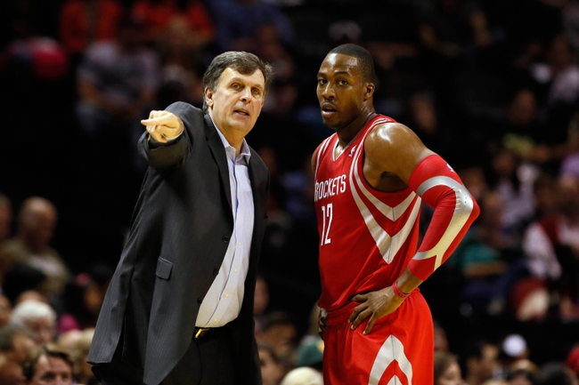 Oct 24, 2013; San Antonio, TX, USA; Houston Rockets head coach Kevin McHale talks to  center Dwight Howard (12) during the second half against the San Antonio Spurs at AT&T Center. Mandatory Credit: Soobum Im-USA TODAY Sports