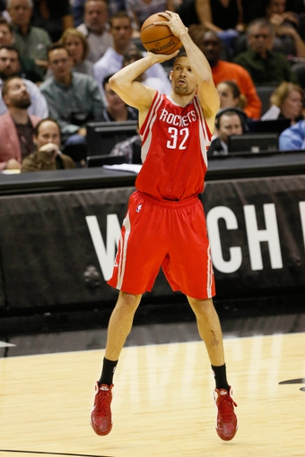 Oct 24, 2013; San Antonio, TX, USA; Houston Rockets guard Francisco Garcia (32) shoots during the second half against the San Antonio Spurs at AT&T Center. The Rockets won 109-92. Mandatory Credit: Soobum Im-USA TODAY Sports
