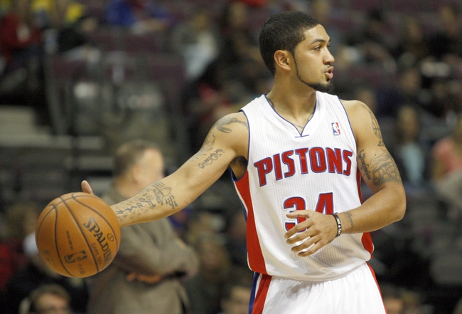 Oct 24, 2013; Auburn Hills, MI, USA; Detroit Pistons point guard Peyton Siva (34) looks down the court during the second quarter against the Minnesota Timberwolves at The Palace of Auburn Hills. Mandatory Credit: Raj Mehta-USA TODAY Sports