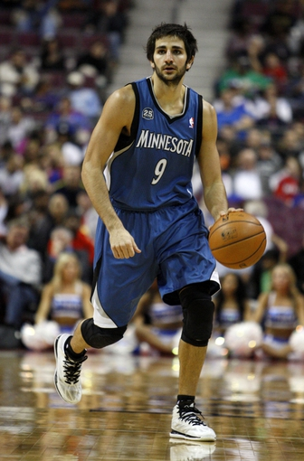 Oct 24, 2013; Auburn Hills, MI, USA; Minnesota Timberwolves point guard Ricky Rubio (9) dribbles the ball during the second quarter against the Detroit Pistons at The Palace of Auburn Hills. Mandatory Credit: Raj Mehta-USA TODAY Sports