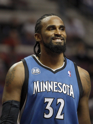Oct 24, 2013; Auburn Hills, MI, USA; Minnesota Timberwolves center Ronny Turiaf (32) during the second quarter against the Detroit Pistons at The Palace of Auburn Hills. Mandatory Credit: Raj Mehta-USA TODAY Sports