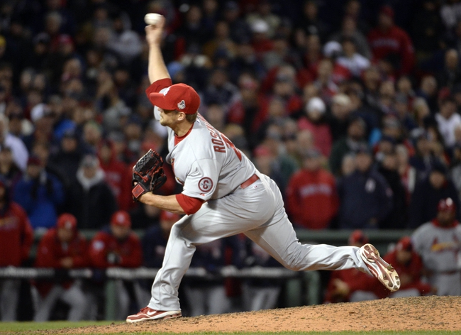 Oct 24, 2013; Boston, MA, USA; St. Louis Cardinals relief pitcher Trevor Rosenthal throws a pitch against the Boston Red Sox in the 9th inning during game two of the MLB baseball World Series at Fenway Park. Mandatory Credit: Robert Deutsch-USA TODAY Sports