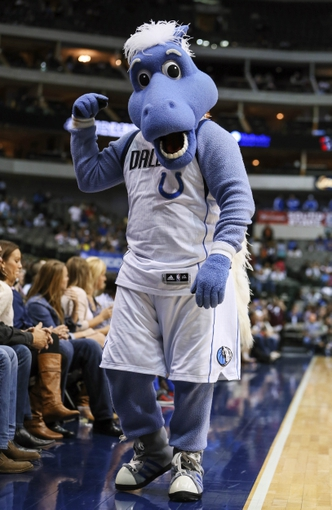 Oct 23, 2013; Dallas, TX, USA; Dallas Mavericks mascot during the game against the Atlanta Hawks at American Airlines Center. Dallas won 99-88. Mandatory Credit: Kevin Jairaj-USA TODAY Sports