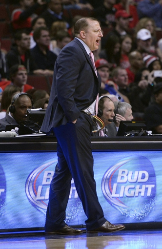 Oct 25, 2013; Chicago, IL, USA; Chicago Bulls head coach Tom Thibodeau reacts during the first quarter against the Denver Nuggets at the United Center. Mandatory Credit: Mike DiNovo-USA TODAY Sports