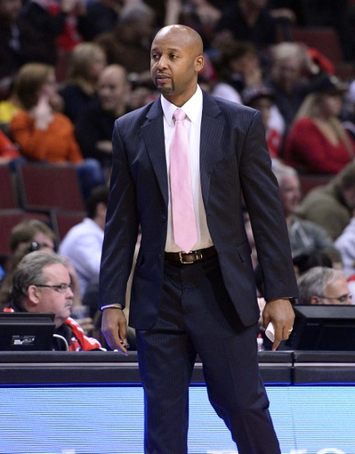 Oct 25, 2013; Chicago, IL, USA; Denver Nuggets head coach Brian Shaw during the first quarter against the Chicago Bulls at the United Center. Mandatory Credit: Mike DiNovo-USA TODAY Sports