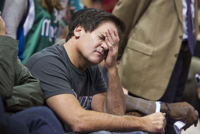 Oct 25, 2013; Dallas, TX, USA; Dallas Mavericks owner Mark Cuban reacts to a call during the second half of the game between the Mavericks and the Indiana Pacers at the American Airlines Center. The Pacers defeated the Mavericks 98-77. Mandatory Credit: Jerome Miron-USA TODAY Sports