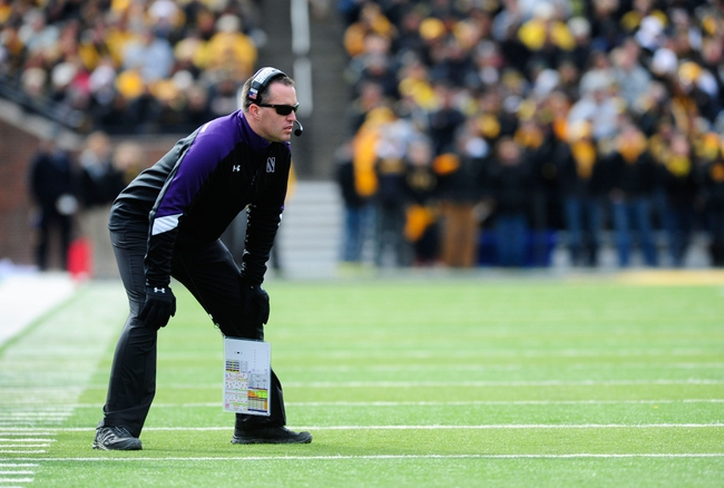 Oct 26, 2013; Iowa City, IA, USA; Northwestern Wildcats head coach Pat Fitzgerald looks on in the first quarter against the Iowa Hawkeyes at Kinnick Stadium. Mandatory Credit: Byron Hetzler-USA TODAY Sports