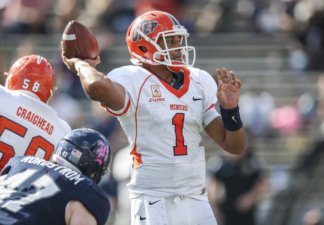 Oct 26, 2013; Houston, TX, USA; UTEP Miners quarterback Jameill Showers (1) attempts a pass during the first quarter against the Rice Owls at Rice Stadium. Mandatory Credit: Troy Taormina-USA TODAY Sports