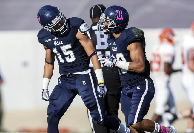 Oct 26, 2013; Houston, TX, USA; Rice Owls cornerback Bryce Callahan (29) is congratulated by cornerback Phillip Gaines (15) after Callahan intercepts a pass during the third quarter against the UTEP Miners at Rice Stadium. Mandatory Credit: Troy Taormina-USA TODAY Sports