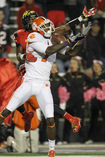 Oct 26, 2013; College Park, MD, USA; Clemson Tigers wide receiver Martavis Bryant (1) leaps to make a fourth quarter catch against the Maryland Terrapins at Byrd Stadium. Mandatory Credit: Mitch Stringer-USA TODAY Sports