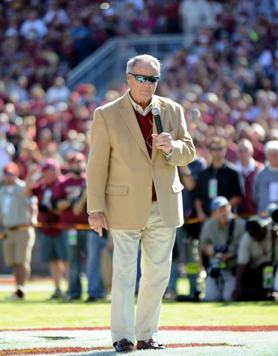 Oct 26, 2013; Tallahassee, FL, USA; Former Florida State Seminoles head coach Bobby Bowden is honored before the game against the North Carolina State Wolfpack at Doak Campbell Stadium. Mandatory Credit: Melina Vastola-USA TODAY Sports