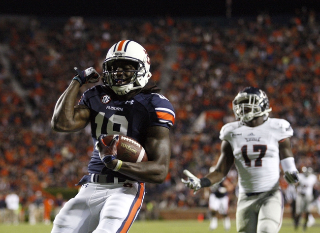 Oct 26, 2013; Auburn, AL, USA; Auburn Tigers reciever Sammie Coates (18) celebrates after scoring at touchdown over Florida Atlantic Owls safety Damian Parms (17) during the first half at Jordan Hare Stadium. Mandatory Credit: John Reed-USA TODAY Sports