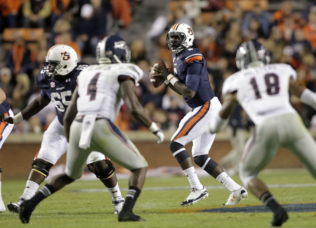 Oct 26, 2013; Auburn, AL, USA; Auburn Tigers quarterback Jeremy Johnson (6) drops back to pass against the Florida Atlantic Owls during the first half at Jordan Hare Stadium. Mandatory Credit: John Reed-USA TODAY Sports