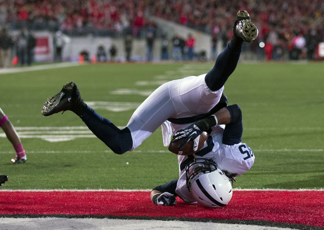 Oct 26, 2013; Columbus, OH, USA; Penn State Nittany Lions wide receiver Brandon Felder (85) scores against the Ohio State Buckeyes at Ohio Stadium. Mandatory Credit: Greg Bartram-USA TODAY Sports