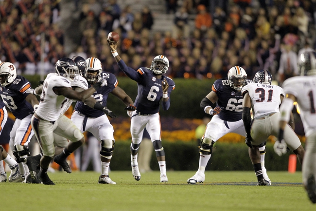 Oct 26, 2013; Auburn, AL, USA; Auburn Tigers quarterback Jeremy Johnson (6) throws a pass against the Florida Atlantic Owls during the second half at Jordan Hare Stadium. The Tigers beat the Owls 45-10.  Mandatory Credit: John Reed-USA TODAY Sports