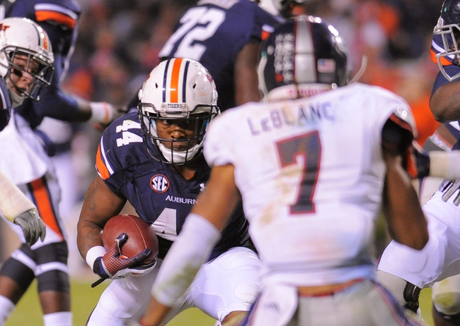 Oct 26, 2013; Auburn, AL, USA; Auburn Tigers running back Cameron Artis-Payne (44) runs the ball against Florida Atlantic Owls defensive back Cre'von LeBlanc (7) at Jordan Hare Stadium. The Tigers beat the Owls 45-10. Mandatory Credit: Shanna Lockwood-USA TODAY Sports