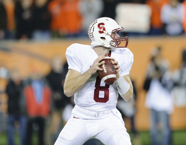 Oct 26, 2013; Corvallis, OR, USA; Stanford Cardinal quarterback Kevin Hogan (8) looks to pass the ball during the 1st half against the Oregon State Beavers at Reser Stadium. Mandatory Credit: Steven Bisig-USA TODAY Sports