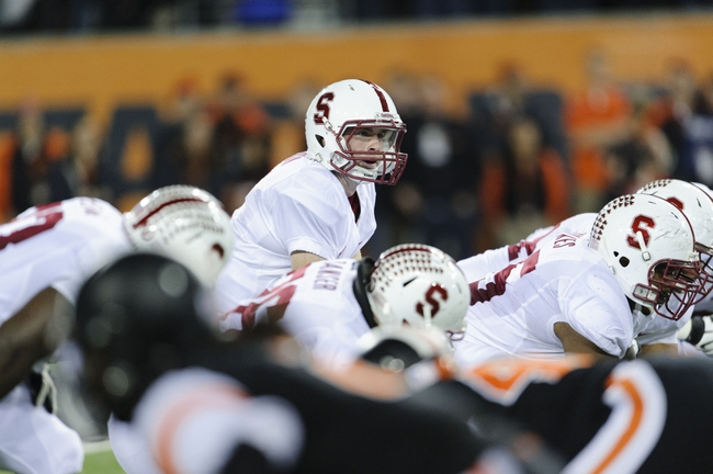 Oct 26, 2013; Corvallis, OR, USA; Stanford Cardinal quarterback Kevin Hogan (8) on the line during the 1st half against the Oregon State Beavers at Reser Stadium. Mandatory Credit: Steven Bisig-USA TODAY Sports