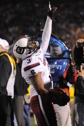 Oct 26, 2013; Columbia, MO, USA; South Carolina Gamecocks wide receiver Nick Jones (3) celebrates after scoring a touchdown during the second quarter against the Missouri Tigers at Faurot Field. South Carolina won 27-24. Mandatory Credit: Denny Medley-USA TODAY Sports